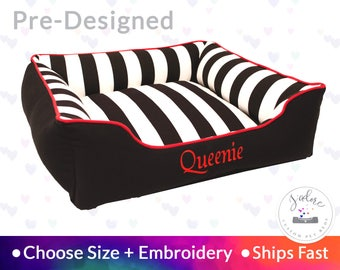 Black & White Stripe Dog Bed with Red Accent | Personalized Dog Bed | Stripe, Bold, Contrast | Ships Fast!