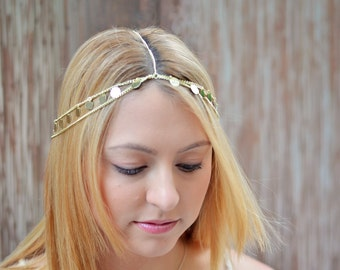 THE CLEOPATRA Gold Coin Hair Chain Jewelry Sexy Head Accessory Boho Indian Wedding Headpiece head chain Crown Gypsy  Festival Christmas