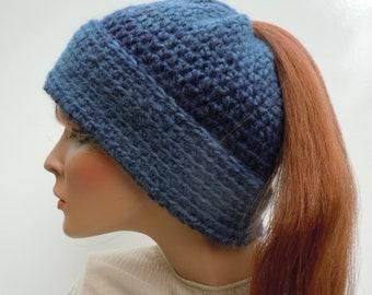 Ponytail Hat, Messy Bun Hat, Denim Blue Hat, Navy Blue Hat, Blue Messy Bun Hat, Hat For Long Hair, Winter Beanie, Cold Weather Hat