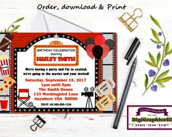 Movies and Popcorn, Movie Night Birthday Party Invitation for Kids - Personalized Printable File