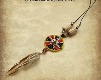 Massai African beadwork feather necklace and leather cord