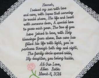 74 words of your choice. Welcome your new Daughter-in-law into the family. Personalized Wedding Handkerchief. Free Matching Gift Envelope.