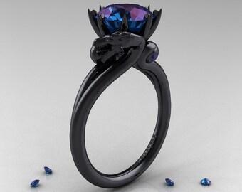 Art Masters 14K Black Gold 3.0 Ct Russian Alexandrite Dragon Engagement Ring R601-14KBGAL