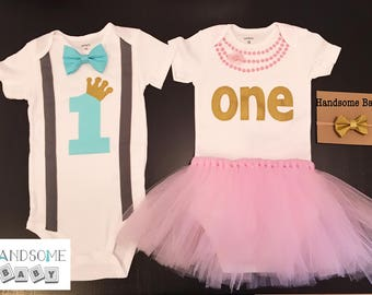 Twins First Birthday Bowtie Necklace with tutu Bodysuits Gold, Cake smash, Prince, Princess