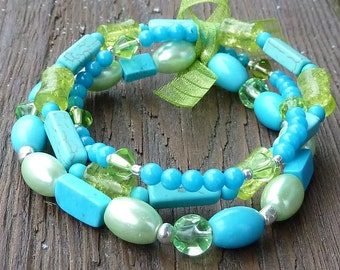 Turquoise and Lime Stretch Bracelet Trio - Turquoise Beads, Green Glass Beads, Lime Green Bow