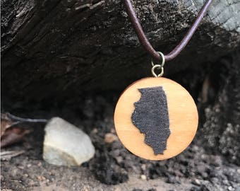 "SALE - 10% OFF - Illinois Necklace - 16"" Leather Band - State Necklace - Illinois Jewelry - Illinois Pendant - Illinois Charm - State Charm"