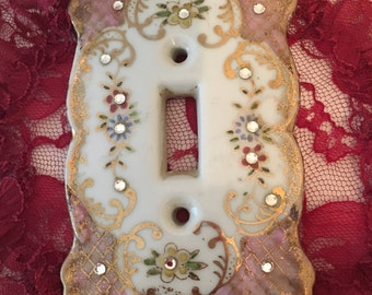 1960's Lefton Porcelain Switchplate With Rhinestones