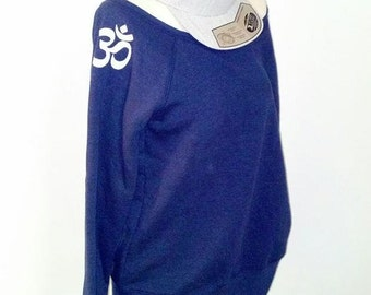 OM Yoga Navy Triblend Blue Off the Shoulder Custom Embroidery Sweater Top Wideneck