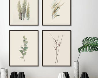 4 Downloadable Botanical Prints, Botanical Print Set, Printable Art, Botanical Set 4, Set of 4 Prints, Print Set, Ferns, Leaves, Australian