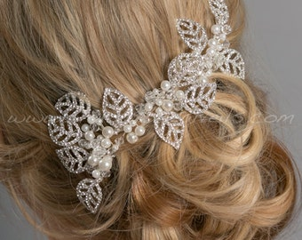 Rhinestone and Pearl Hair Comb, Rhinestone Leaf Headpiece, Rhinestone Bridal Hair Vine, Wedding Hair Comb - Lorna