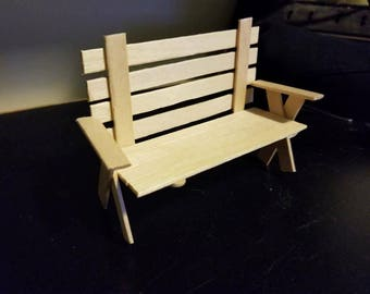 Mini Wooden Toy Bench
