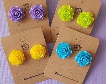 Large rose earrings, Flower earrings, flower stud earrings, rose earrings, rose studs, 20mm stud earrings, bridesmaids gifts