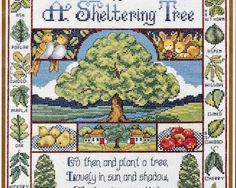 Bucilla Counted Cross Stitch Kit, #42078, Sheltering Tree, Joan Elliot, vintage cross stitch, needlework, home decor, summer, nature,  gift