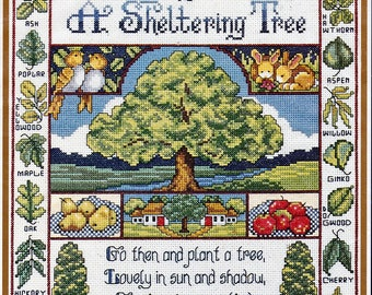 Bucilla Counted Cross Stitch Kit, #42078, Sheltering Tree, Joan Elliot, vintage cross stitch, needlework, home decor, summer, nature,  gift