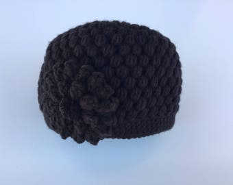 READY TO SHIP/Black Knit Knitted /Crochet/Super Cute/Beanie/Cap/Warm/Thick Chunky/Pretty/Winter/Flower Hat/Adult/Women/Ladies/Girls/Toque