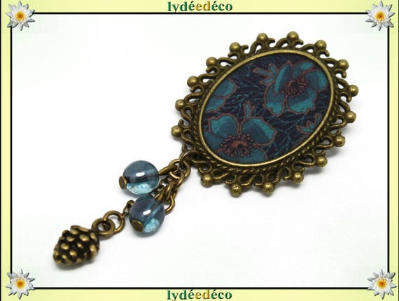 Brooch retro resin flower turquoise blue Brown BRONZE pendant oval 18 x 25mm charm beads pinecone