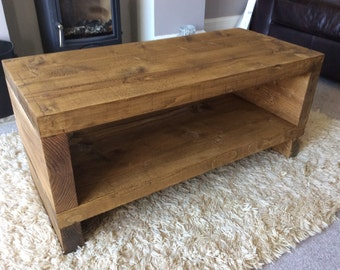 Handcrafted Chunky rustic reclaimed Wooden coffee table tv stand/cabinet in oak wax.