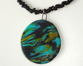 Green-black marbled polymer clay necklace