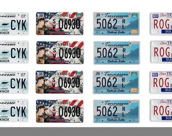 scale model car Tennessee license tag plates