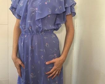 Vintage dress, 80's dress, Floral dress, Knee length dress, lavender dress, Easter dress