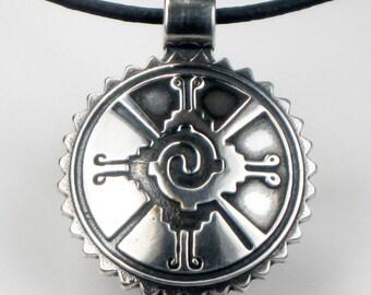 SALE - Mayan Hunab Ku Shaman Tribal Sterlng Silver Pendant - Mayan Folk Art - Symbolic Celestial Universe Mayan Sterling Silver Pendant