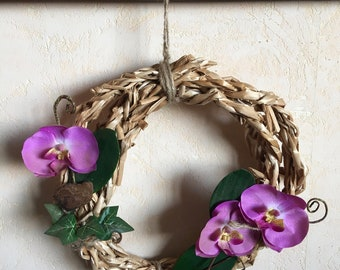 Wall decor / patio decor / decorating balcony / Orchid / recycling / wreath