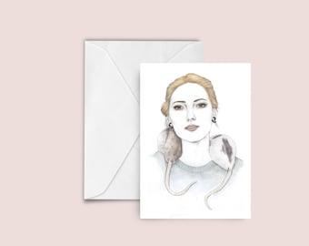 Woman / Rats fashion illustration Greeting card , blank card