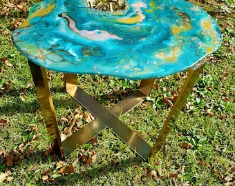Turquoise Tempest Geode Resin Table