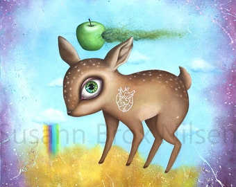 "Giclee print of ""All I need"", art by Susann Brox Nilsen. Psychedelic, colorful, deer, baby animals, rainbow, pop surrealism, lowbrow, kids"