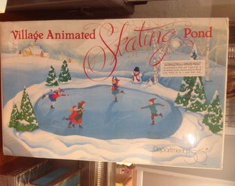 Vintage Department 56 Snow Village Animated Skate Pond New Sealed