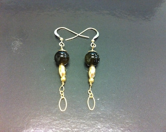 Earring gold filled 14 k and Golden Obsidian