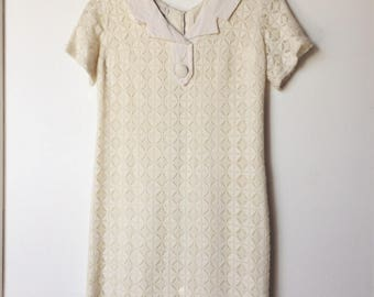 1960s Vintage Lace Knit Mini Dress
