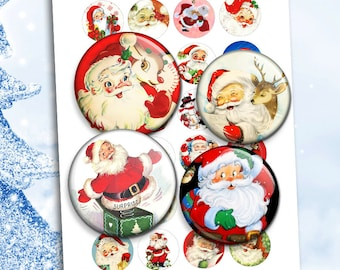 Santa Claus Printable round Images for Scrapbooking Bottle caps, Pendants Digital Collage Sheet Instant Download