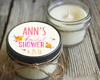 12 - 4 oz Bridal Shower Favor//Floral Favor//Chalkboard//Soy Candle Favor//Personalized Wedding Favor//Shower Favor//Candle Favors//