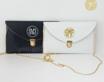 Personalized Monogrammed Envelope Clutch, Vegan Embossed Leather Clutch, Monogram Clutch, Monogram Purse, Mothers Day, Mother's Day Gift