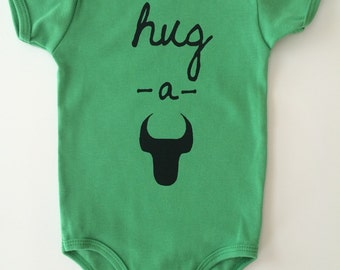 Hug-A-Bull,  6-12 months, Screen printed Baby Onesie - Durham, NC, American Apparel, Green with Black print