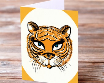 Tiger Love Meow Greeting Card