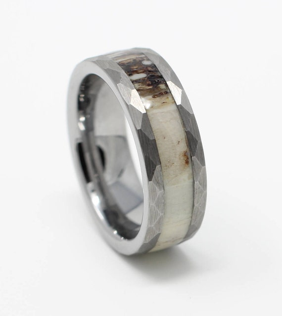 include koa band fit jewelry antler metalking with comfort tungsten for wedding half product girls wood size boys deer from rings inlay ring and