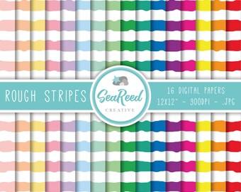 Rough Stripes Digital Paper, Horizontal Stripes, Stripe Digital Paper, Pastel Stripes, Striped Paper Pack, Printable Paper, Instant Download