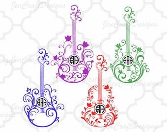Floral Guitar SVG Monogram Frame, Guitar Cuttable Design Frame Monogram Indian Boho svg dxf eps png monogram Frame svg cut files