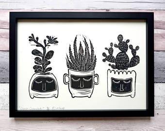Cacti Succulent Art Print /house plant print / botanical wall art / home decor prints / housewarming gift / vintage wall art