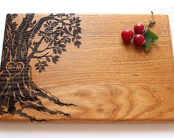Personalized Cutting Board Wedding Gift Tree cutting board Custom Wedding Gift Housewarming Gift Anniversary Gift for Couple Chopping board