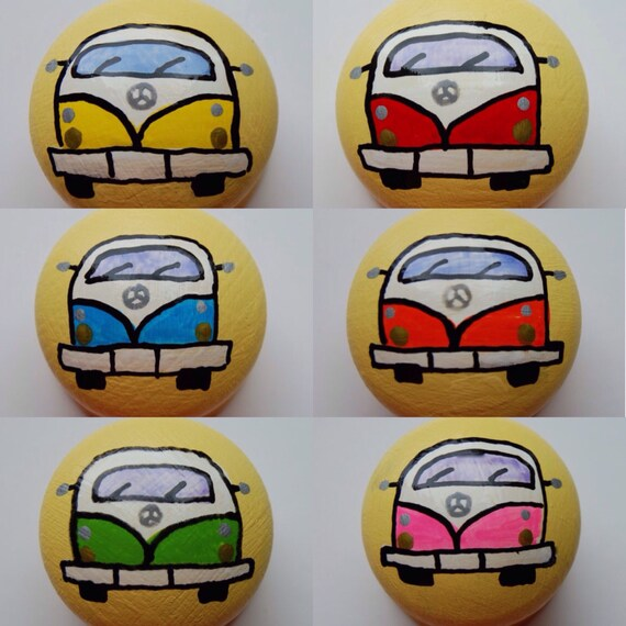 Campervan Drawer Knob, Cupboard Handle Hand Painted Choice of 6 colours - red, blue, green, orange, pink, yellow 3 sizes available 30mm, 40m