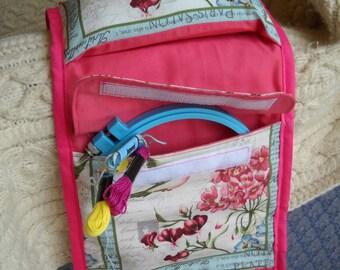 Pink Hummingbirds Sewing Caddy, Handwork Organizer