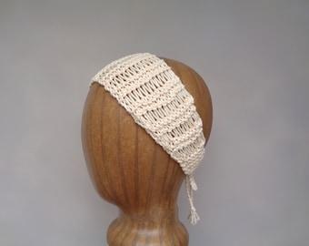 Yellow Cotton Headband, Hand Knit Tie Back, Head Wrap Scarf, Cute Chic Summer Fashion, Women Teen Girls, Open Lace Design