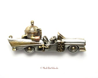 Steampowered 57 Chevy #2 wearable sculpture brooch, 3 moving parts, a remarkable piece in the steampunk style
