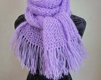 Lilac womens wool scarf knit Lace wide scarf Handknit scarf Cozy knit scarf Fringed scarves for women Knit scarf  Long knit scarf