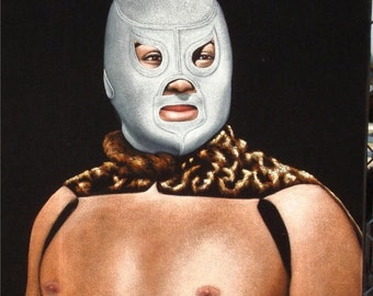 El santo Mexican wrestling black velvet original oil painting hand painted signed lucha libre art 18 by 24 inches