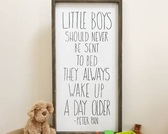 Little boys Peter Pan quote handpainted framed sign