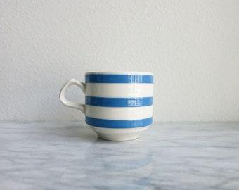 Vintage Blue Stripe Carrigaline Ireland Mug, Cute Mugs, Unique Mugs, Coffee Mugs, Ceramic Mug Set, Tea Mug, French Stripe, Coworker Gift